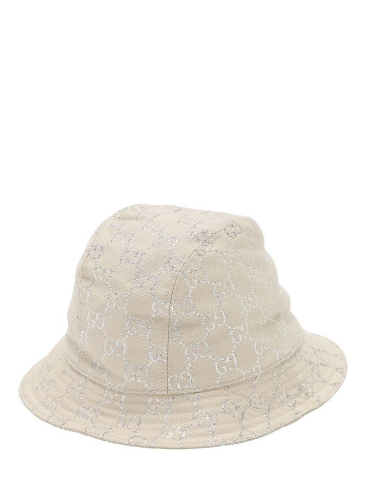 GUCCI Gg Wool Lamé Bucket Hat in white