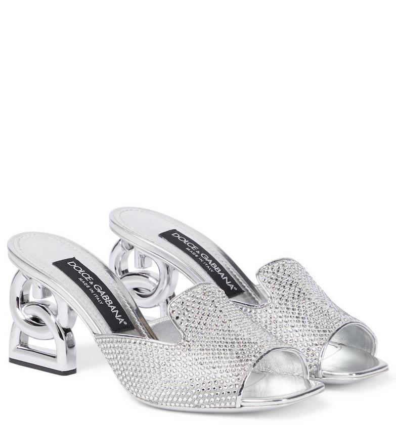 Dolce & Gabbana Keira embellished satin sandals in silver