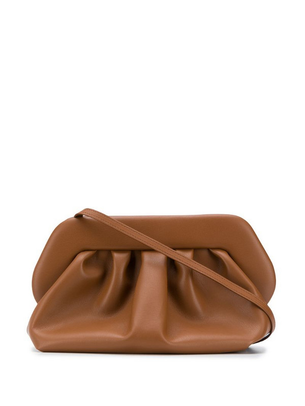 Themoirè Bios leather clutch bag in brown