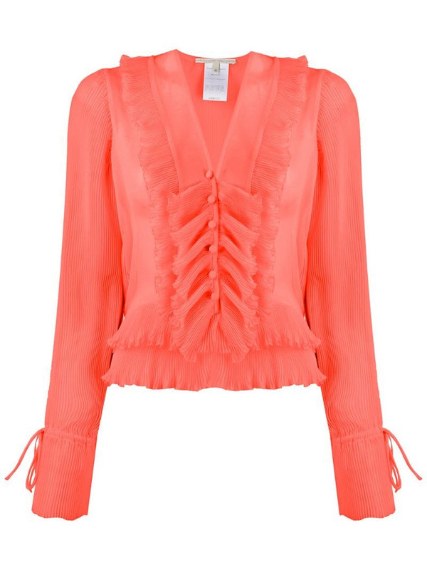 Marco De Vincenzo sheer pleated shirt in orange