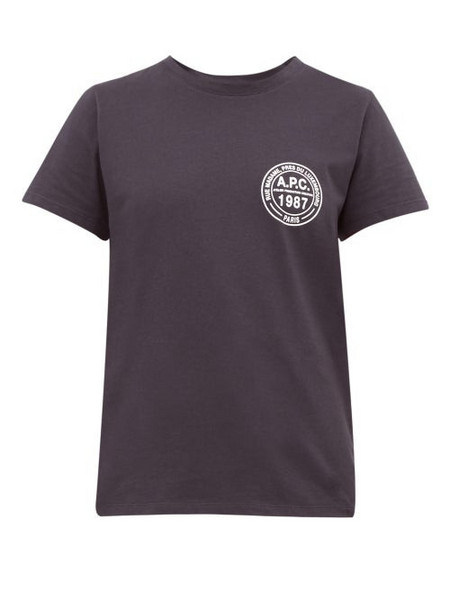 A.P.C. A.p.c. - Logo Roundel Cotton Jersey T Shirt - Womens - Navy