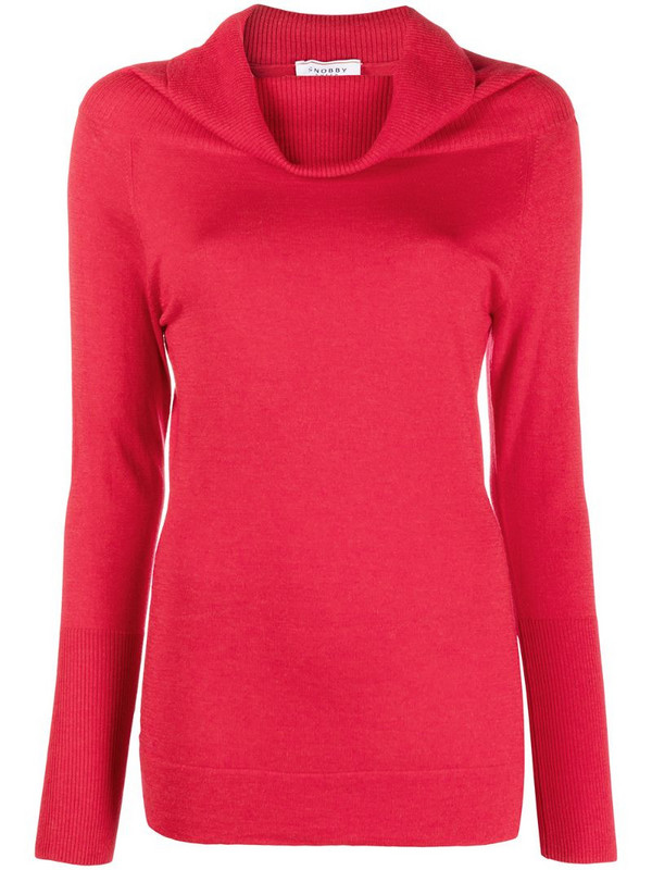 Snobby Sheep cowl neck jumper in red