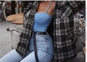 top,jacket,blue,cute,edgy,checkered