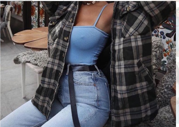 top jacket blue cute edgy checkered