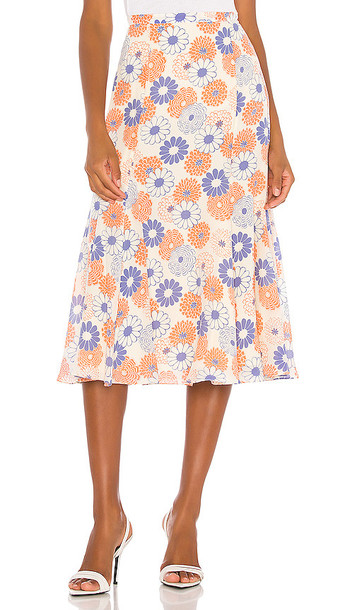 Kenzo Smock Midi Skirt in Pink,Blue in white