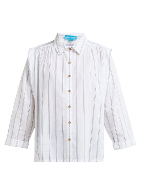 M.i.h Jeans - Arley Jacquard Striped Pleated Shoulder Shirt - Womens - White