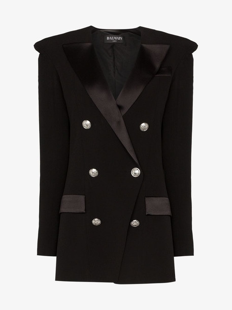 Balmain Double breasted pointed shoulder blazer in black