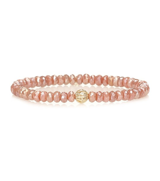 Sydney Evan Exclusive to Mytheresa – Beaded bracelet with 14kt yellow gold and diamond bezel in pink