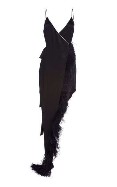 David Koma Crystal And Feather-Trimmed Asymmetrical Dress in black