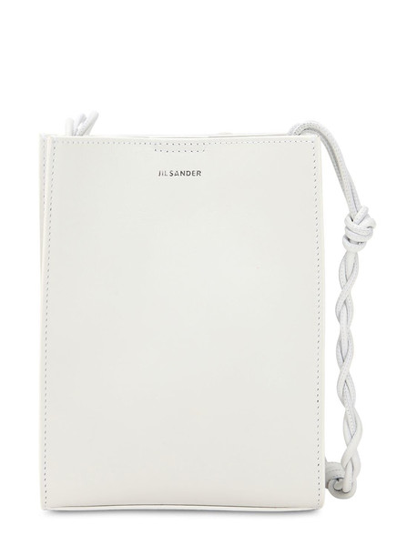JIL SANDER Small Tangle Leather Shoulder Bag in white