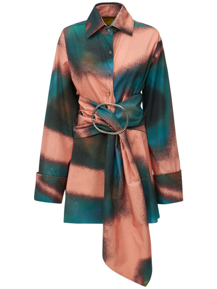 MARQUES'ALMEIDA Printed Cotton Shirt Dress W/ Belt in green / pink