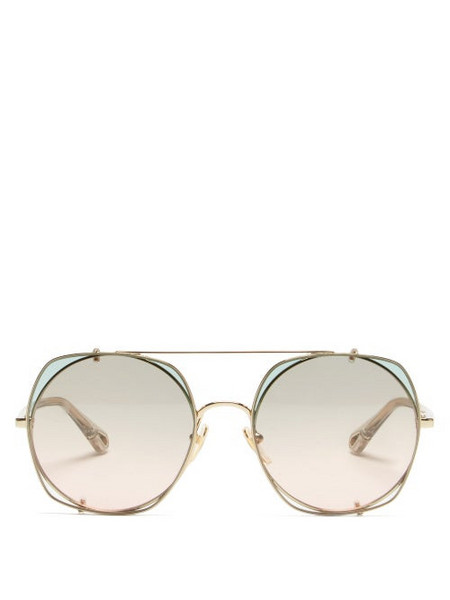 Chloé Chloé - Demi Clip-on Lens Sunglasses - Womens - Gold