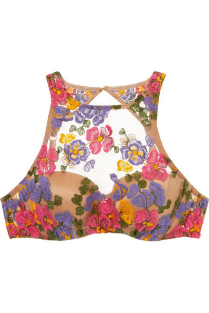 I.D. Sarrieri - Wonderland Delights Embroidered Stretch-tulle And Satin Underwired Bra - Sand