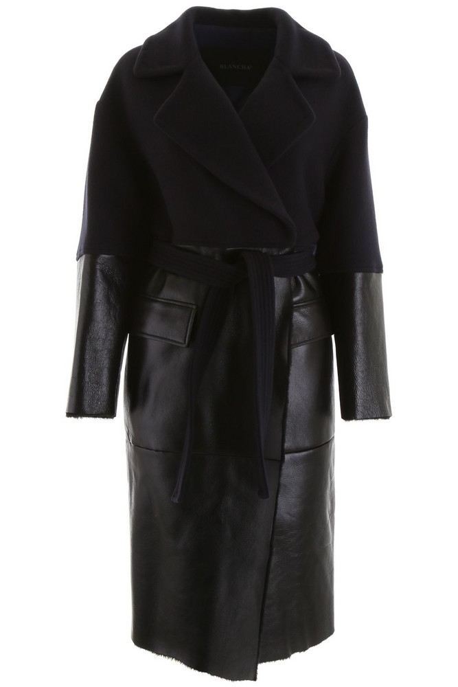 Blancha Wool And Shearling Coat in black / blue