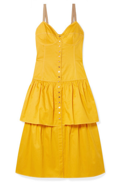 See By Chloé See By Chloé - Tiered Cotton-poplin Midi Dress - Mustard