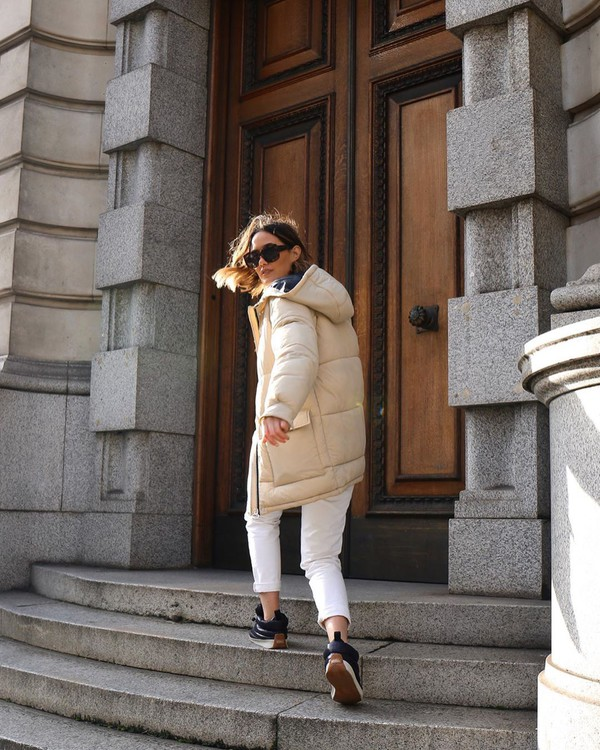 jacket puffer jacket ankle boots black boots white pants