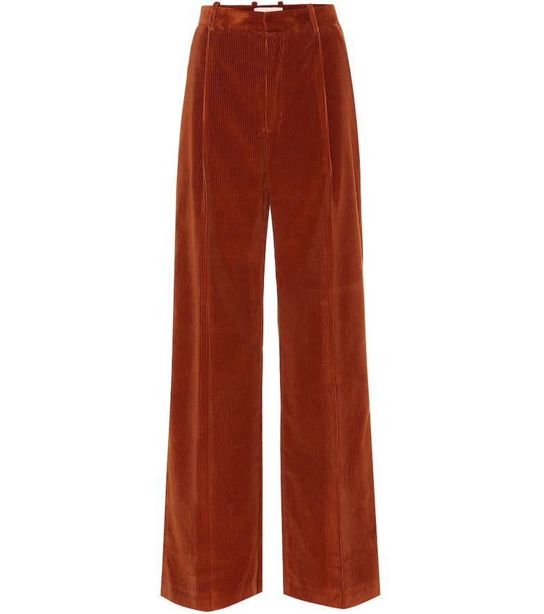 Plan C High-rise flared corduroy pants in brown