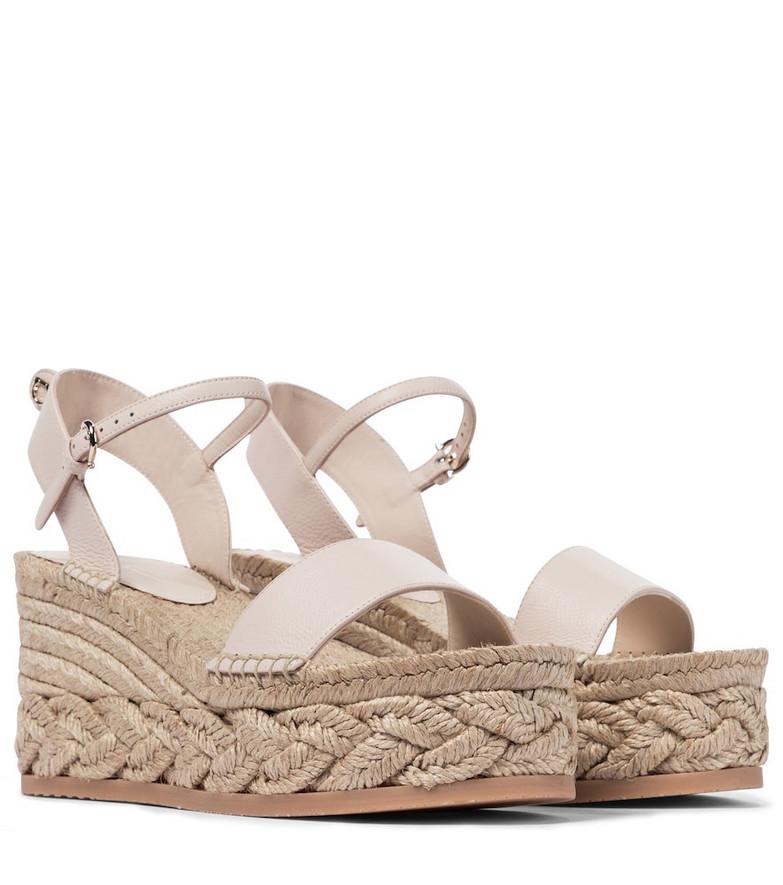 Salvatore Ferragamo Thea leather espadrille sandals in beige