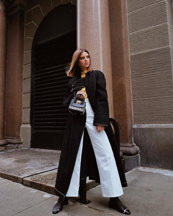 bag handbag salvatore ferragamo slingbacks tights white pants wide-leg pants black coat long coat shirt