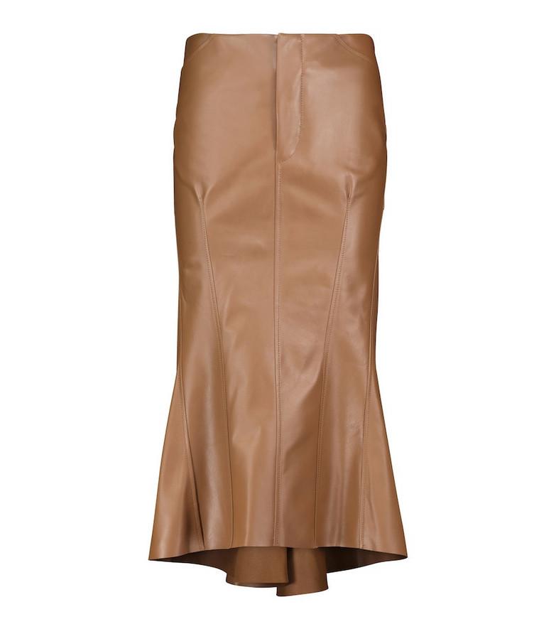 Petar Petrov Roya low-rise leather midi skirt in brown