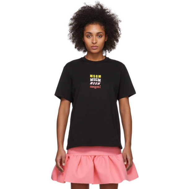 MSGM Black Rainbow All Logos T-Shirt