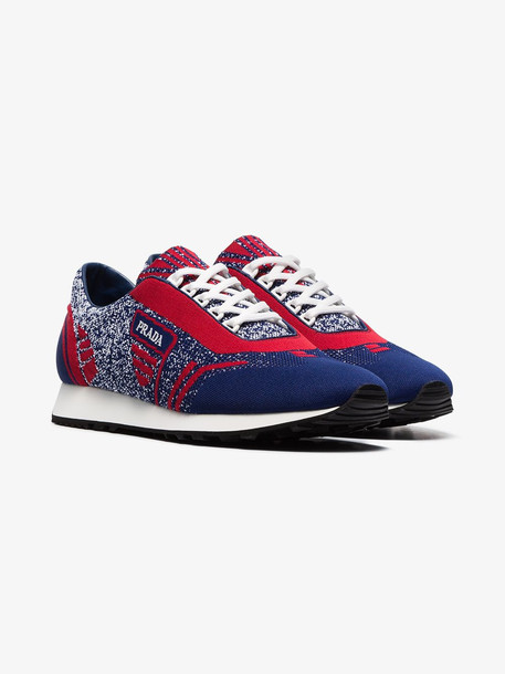 Prada blue and red Milano 70 knitted low top sneakers