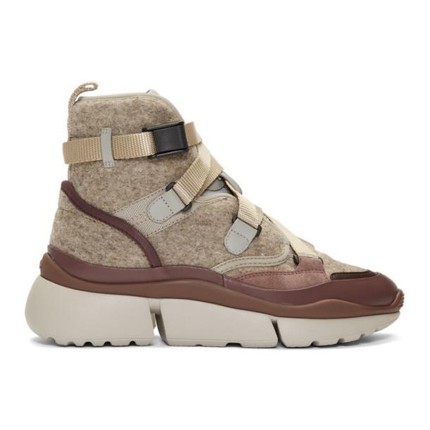 Chloe Brown and Grey Wool Sonnie High-Top Sneakers