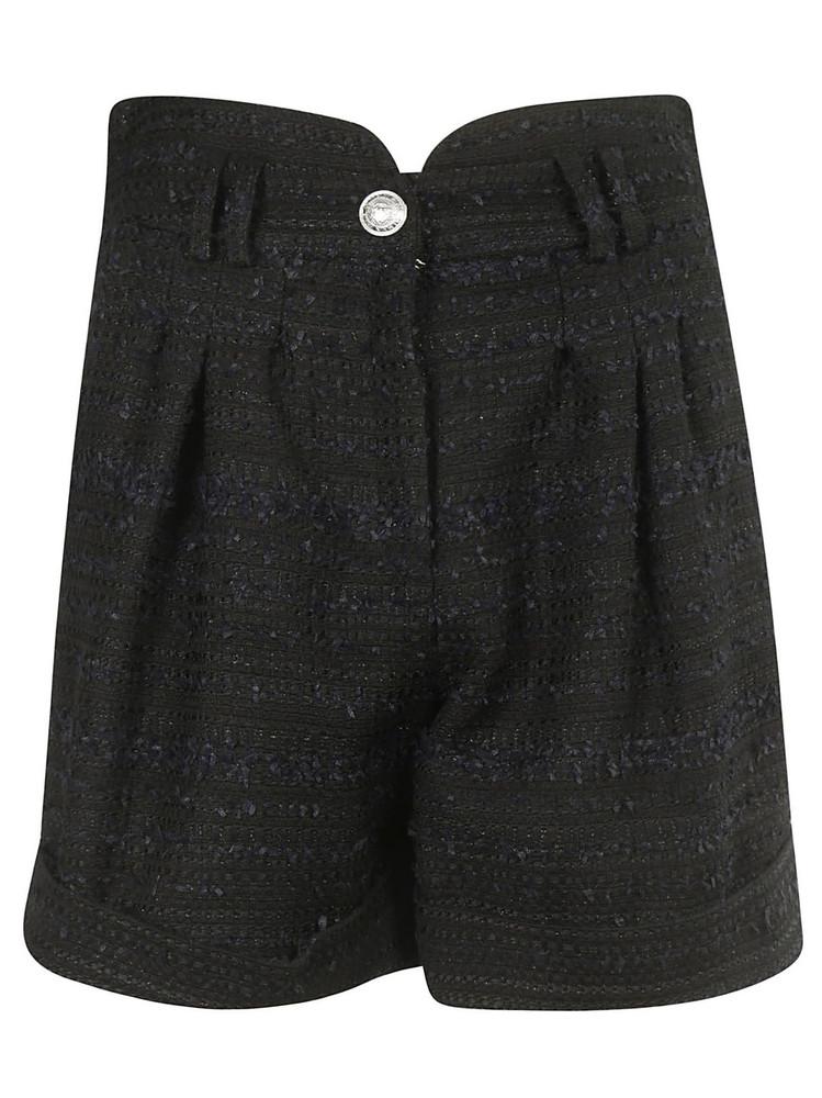 Balmain High-waist Tweed Shorts in noir