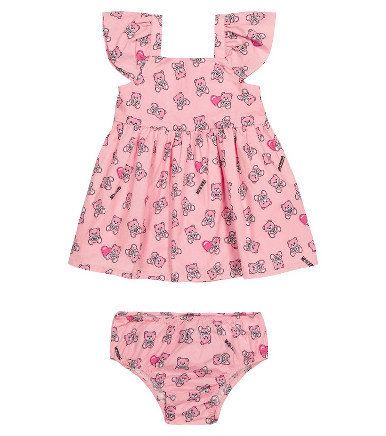 Moschino Kids Baby printed cotton dress and briefs set in pink
