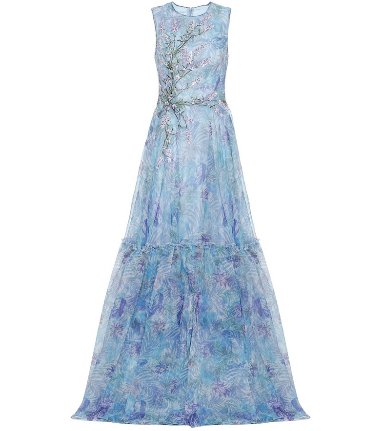Costarellos Embroidered printed tulle gown in blue