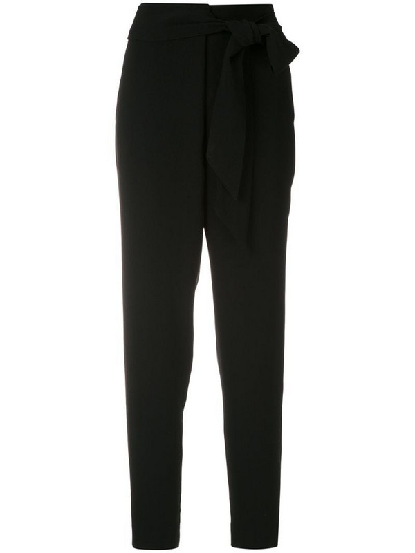 Eva wrap tie trousers in black