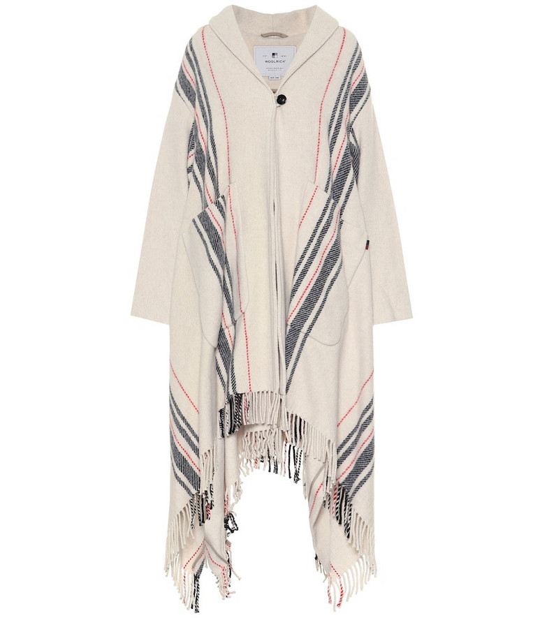 Woolrich Striped wool-blend poncho in white