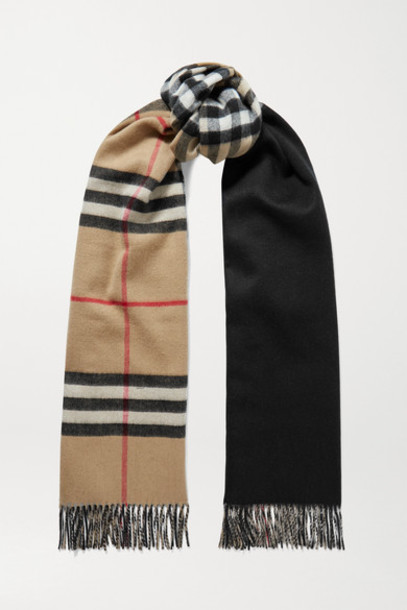 Burberry - Reversible Fringed Checked Cashmere Scarf - Beige