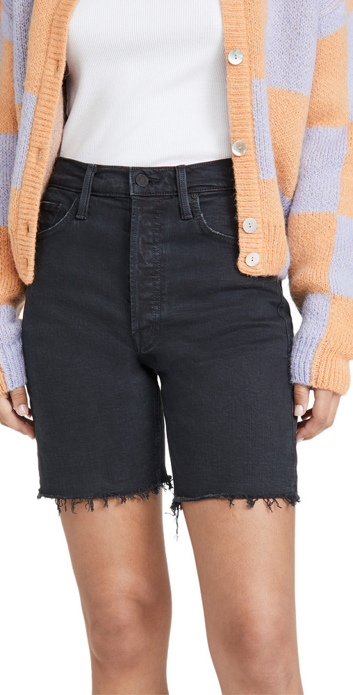 MOTHER The Tripper Cutoff Fray Shorts in black