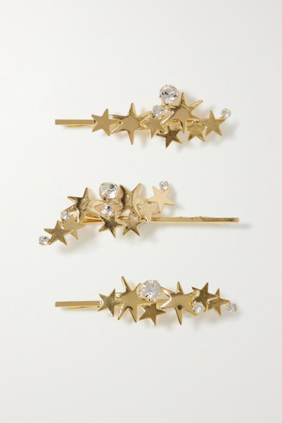 LELET NY - Modern Stars Set Of Three Gold-tone Crystal Hair Slides