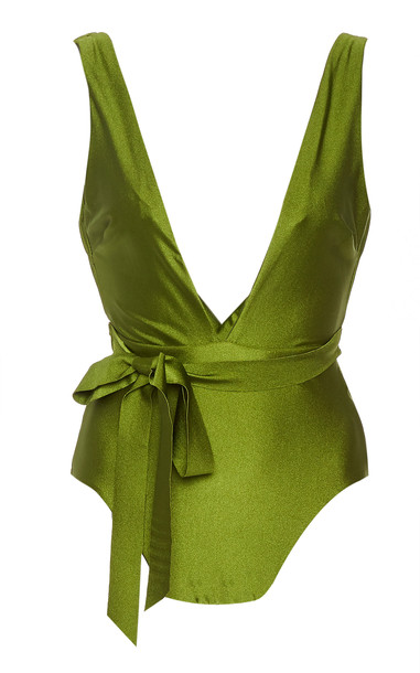 Zimmermann Empire Tie Waist Plunge One Piece Swimsuit Size: 0 in green