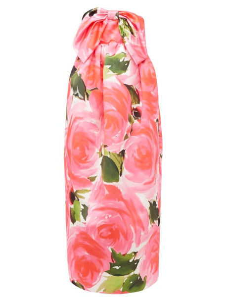 Richard Quinn - Floral Print Knotted Bow Duchess Satin Gown - Womens - Pink Multi