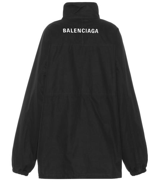 Balenciaga Embroidered cotton poplin jacket in black