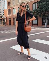 dress,shirt dress,black dress,midi dress,slide shoes,brown bag,black sunglasses