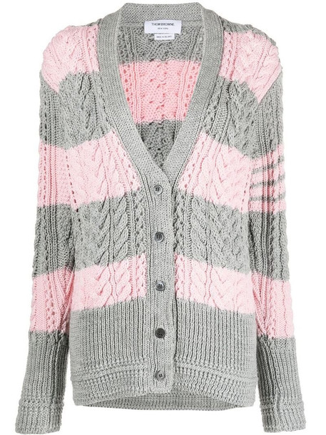 Thom Browne ARAN CABLE RELAXED V NECK CARDIGAN W/ 4 BAR IN FINE MERINO WOOL in multi