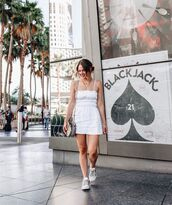 dress,white dress,mini dress,sleeveless dress,white sneakers,bag
