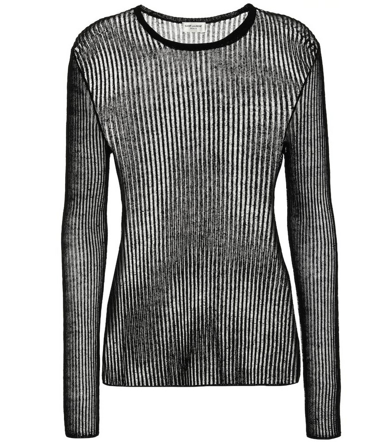 Saint Laurent Ribbed linen and silk top in black