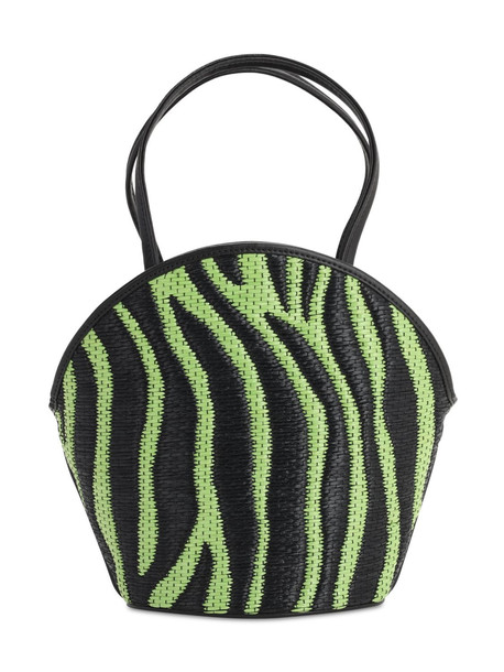 LES PETITS JOUEURS Kaia Zebra Raffia Effect & Leather Bag in green