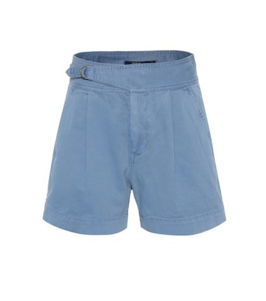 Polo Ralph Lauren High-rise cotton twill shorts in blue