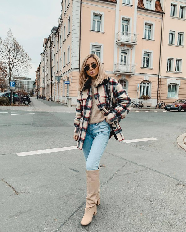 shoes knee high boots leather boots heel boots jeans plaid jacket knitted sweater