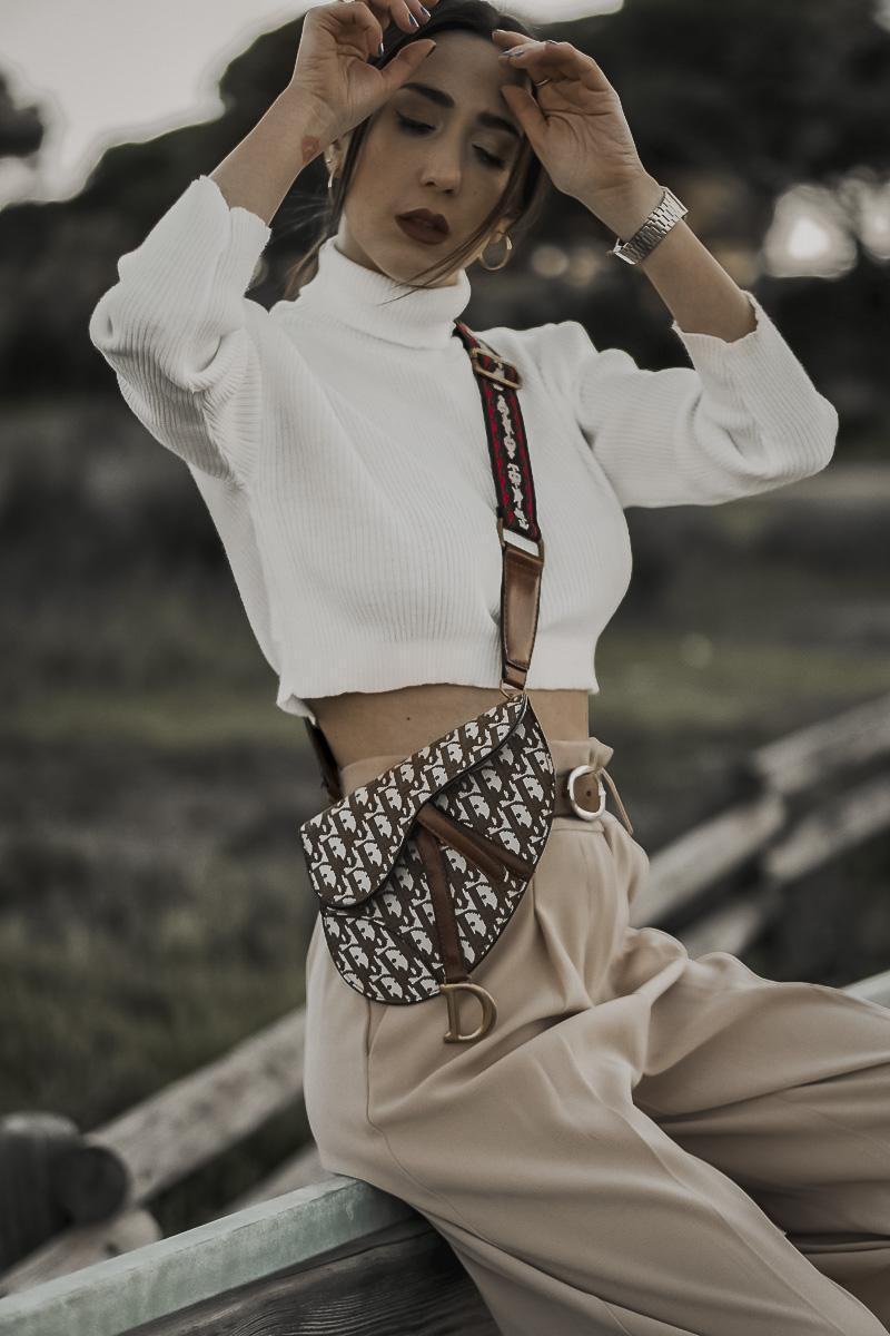 shoes and basics blogger top pants bag shoes beige pants belted bag belt bag spring outfits cropped sweater