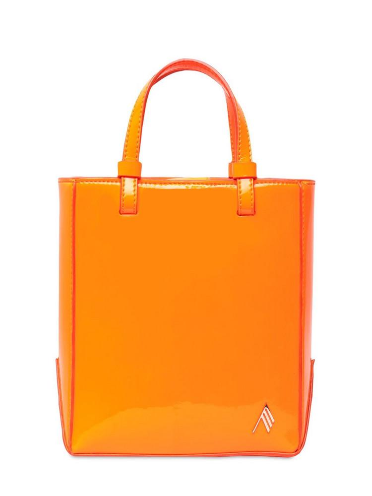 THE ATTICO Mini Drew Patent Tote Bag in orange