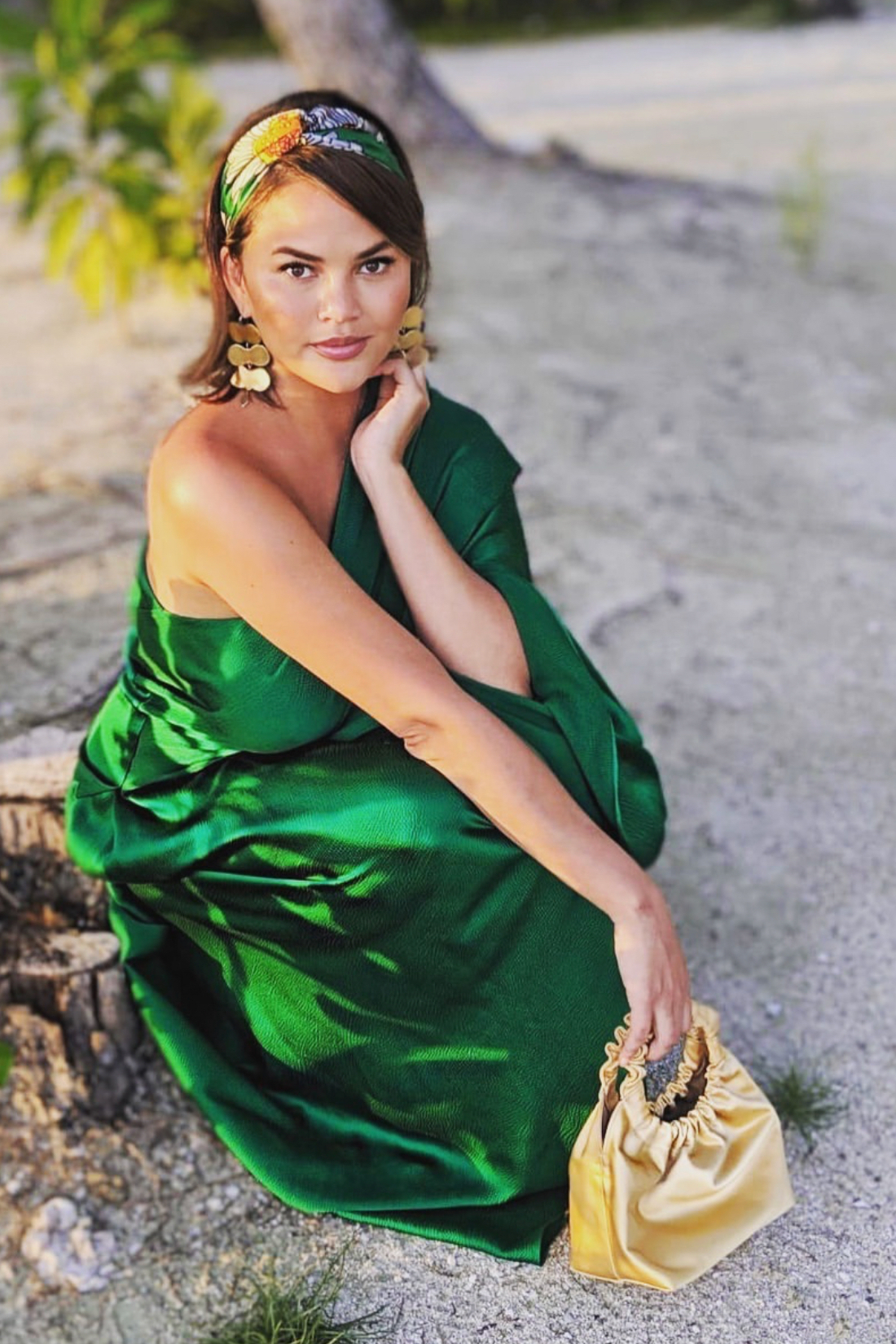 dress chrissy teigen celebrity summer dress maxi dress