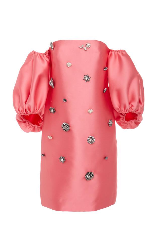 Lela Rose Drop-Shoulder Embellished Taffeta Mini Dress Size: 2 in pink