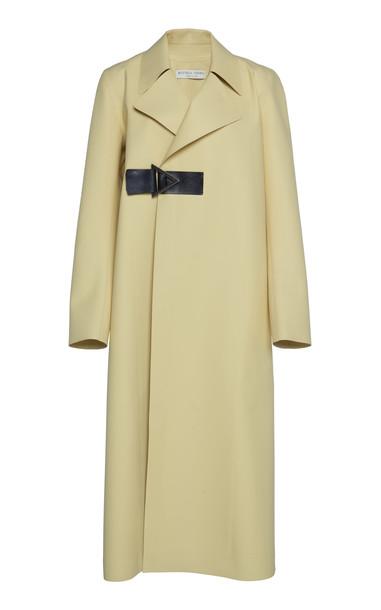 Bottega Veneta Leather-Trimmed Coat Size: 38